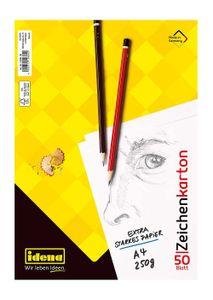 Idena 10384 Zeichenkarton, 50 Bogen, DIN A4, 250 g/m²,Mix