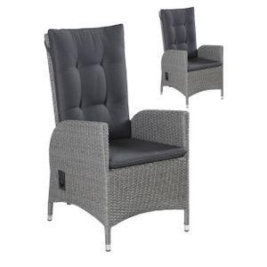 2x LC Garden Positionsstuhl Verstellsessel Modesto Dining grau