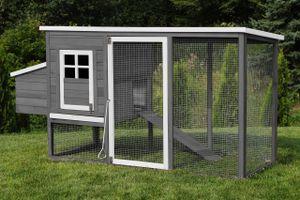 MyAnimal Hühnerstall für 4 Hühner MH-04 mit Eiablage, wasserabweisendes Dach, schutzimprägniert (Grau)