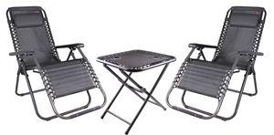 Relax Set aus 2x Sessel mit Kopfkissen und 1x Tisch, Farbe: Schwarz/Grau