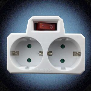 250V Doppel zweifach Steckdose mit Steckdosenschalter Schalter Stecker Weiß