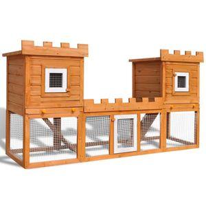 yocmall Großer Kaninchenstall Kleintierkäfig Doppelhaus
