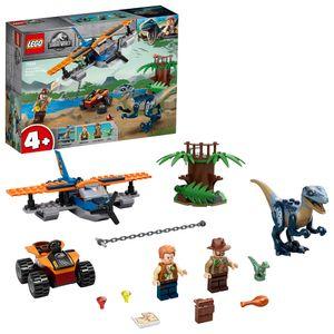 LEGO 75942 Jurassic World Velociraptor: Rettungsmission mit dem Doppeldecker, Spielzeug ab 4 Jahre mit Flugzeug und Dinosaurier-Figuren