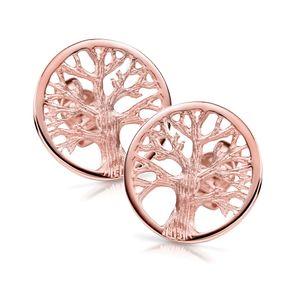 MATERIA Lebensbaum Ohrstecker rund 9mm - 925 Silber Ohrringe Rosegold vergoldet keltisch für Damen Mädchen SO-387-9mm