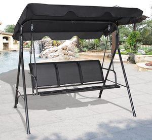 COSTWAY Hollywoodschaukel Gartenschaukel Schaukelbank Gartenliege mit Sonnendach 3-Sitzer(Schwarz)