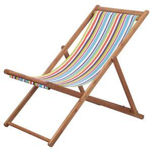 Hochwertigen Klappbarer Strandstuhl/Relaxliege/Strandliege/Gartenliege Stoff und Holzrahmen Mehrfarbig #DE8900