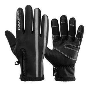 ROCKBROS Winter Vollfingerhandschuhe Fahrrad für Outdoor-Sports Touchscreen Schwarz L
