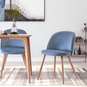 ModernLuxe 2er Set Esszimmerstühle Samt Vintager Retro Sessel Polstersessel Sitzkomfort Küchenstühle Lounge Sessel, Farbeauswahl (Himmelblau)