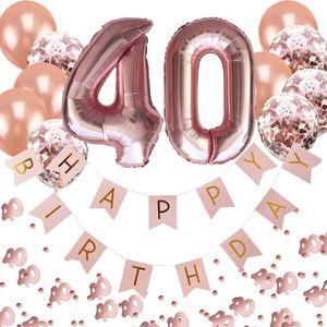 Oblique Unique 40. Geburtstag Party Deko Set - Girlande + Zahl 40 Ballons + Konfetti Luftballon Set + Konfetti