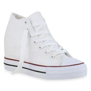 Giralin Damen Sneaker Keilabsatz Schnürer Schnür-Schuhe 836672, Farbe: Weiß, Größe: 40