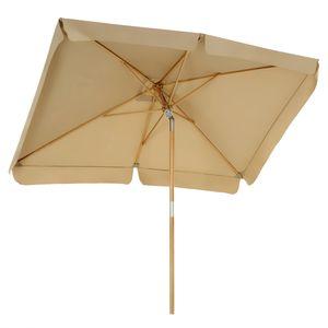 SONGMICS Sonnenschirm für den Balkon, 300 x 200 cm, Sonnenschutz bis UPF 50+, Schirmmast, Schirmrippen aus Holz, knickbar, ohne Ständer, taupe GPU300K01