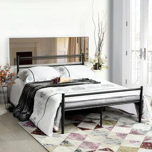 H.J WeDoo Doppelbett Metallbett Metall Rahmen Bett Jugendbett Metall Bettgestell Bett Schwarz 140 x 200 cm
