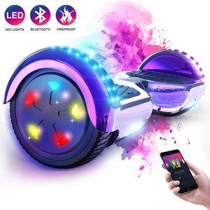 Mega Motion Hoverboard 6,5 Zoll Elektro Skateboard E-Board Hover - mit RGB LED auf Rädern - LED Zelt - Bluetooth Lautsprecher - Gyropod Modell