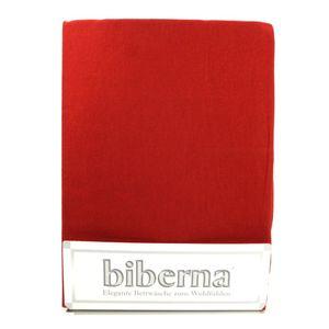 Biberna 02744-176-040 Feinbiber Spannbetttuch Rot 90x190 100x200