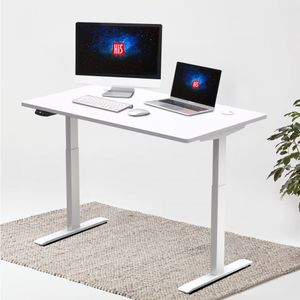 Hi5 Elektrisch Höhenverstellbarer Schreibtisch mit Rechteckiger Tischplatte (120 x 60CM) Gaming Tisch Home Office Tischplatte und Rahmen in Weiß