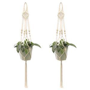 2 Stück Makramee Blumenampel Baumwollseil Hängeampel, Blumentopf Pflanzen Halter Aufhänger Pflanzenhalter für Innen Außen Decken Balkone Wanddekoration (Beige)