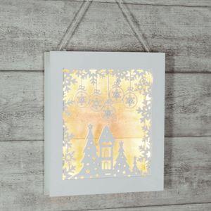 LED Wandbild / Fensterbild - hängend & stehend - 8 warmweiße LED - Holz - Batterie - Timer - weiß