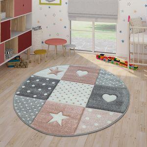 Kinderteppich Pastellfarben Kariert Punkte Herzen Sterne Weiß Grau Rosa, Grösse:Ø 160 cm Rund