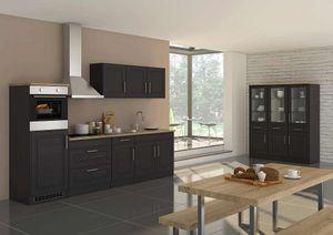 Küchenblock Rom 290 cm im Landhaus Stil grau matt ohne Elektrogeräte