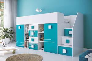 RIFE 3 Multifunktionsbett Hochbett Schreibtisch Jugendzimmer Weiß/Türkis (Treppe - rechte Seite) 90x200 cm