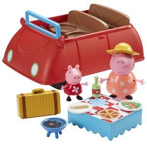 Peppa Wutz Auto mit Soundeffekten mit zwei Figuren von Peppa und Mutter und viel Zubehör