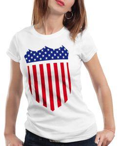 style3 USA Amerika Medal Medaille Wappen Flagge Damen T-Shirt, Farbe:Weiß, Größe:M