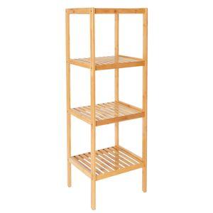 ML-Design Standregal Bambus mit 4 Ablagen 37x33x110 cm, Natur, stabil, im Flur, Wohnzimmer, Badezimmerregal Badregal Holzregal Küchenregal Aufbewahrung Regal Haushaltsregal Bambusregal Pflanzenregal Bücherregal