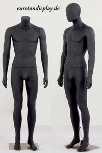 Eurotondisplay LM1-8 Neu Hochwertig Männlich Mann Maskulin schöne abstrakte schwarz matt lackierte Schaufensterpuppe Nase und Mund geformt Kopf abnehmbar
