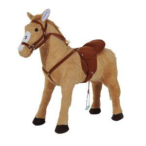 HOMCOM Reitpferd Spielpferd Plüschpferd Spielpferd für Kinder Stehpferd mit Sound Beige 85 x 28 x 60 cm