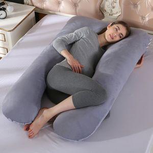 Baumwolle Schwangerschaftskissen 57 Zoll Ganzkörperkissen Komfort U-förmiges Kissen Extra groß