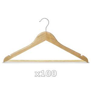 100 Stück Kleiderbügel Holz natur mit Hosenstange