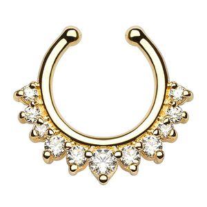 Nasenpiercing Nasenring Fake Piercing Septum Helix Kugeln Zirkonia Kristalle Strass gold-klar