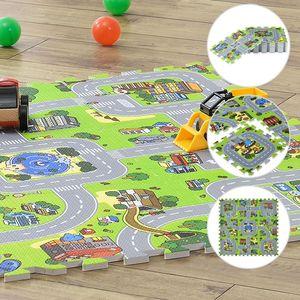 Juskys Kinder Puzzlematte Jascha 9 Teile – Stadt & Straßen - rutschfest & abwischbar - 1cm dick – Spielmatte ab 10 Monate – Baby Puzzle Spielteppich