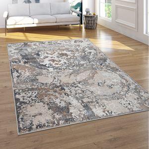 Teppich Wohnzimmer Vintage Kurzflor 3D Effekt Abstraktes Muster Creme Beige Grau, Grösse:120x160 cm