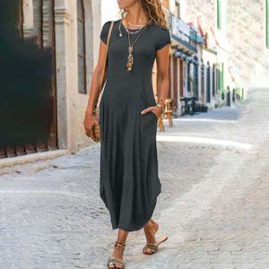 Frauen Sommer O-Ausschnitt Folk-custom Plus Size Solide Lose Kurzarm Lange Kleider Größe:XXXL,Farbe:Grau