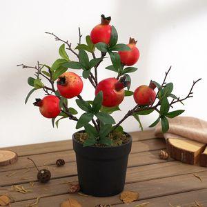 1 Stück künstliche Baumfruchtpflanze Bonsai Farbe Granatapfel L.