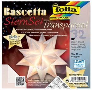 folia Faltblätter Bascetta-Stern 200 x 200 mm 115 g/qm 32 Blatt weiß-transparent