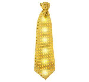 LED Leuchtende Krawatte mit Pailetten gold
