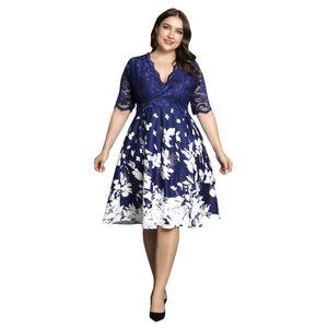 LAPA Damen Plus Size Kurzarm Spitzenkleid Blumen bedruckte Partykleider Sommerkleider,58