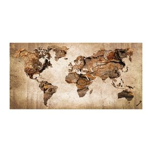 Tulup® Leinwandbild - 120x60 cm - Wandkunst - Drucke auf Leinwand - Leinwanddruck - Landkarten & Flaggen - Braun - Weltkarte Holz
