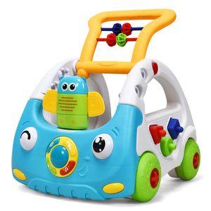 COSTWAY 3 in 1 Lauflernhilfe, Baby Walker hoehenverstellbar, Gehfrei mit Musik & Licht, Laufhilfe inkl. Fernbedienung, Lauflernwagen, Spielwagen geeignet fuer Kinder von 6-36 Monaten Blau