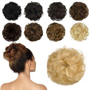 100% Echthaar Haarteil Haargummi, lockige haarteile Haarknoten Haargummi Hochsteckfrisuren unordentlich dutt Haarteil