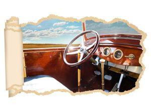 3D Wandtattoo Retro Auto Lenkrad Luxus gold Oldtimer Tapete Wand Aufkleber Wanddurchbruch Deko Wandbild Wandsticker 11N2151, Wandbild Größe F:ca. 97cmx57cm