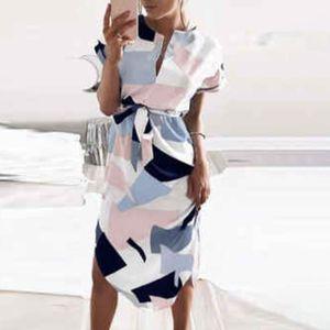 Damen Lässiges Kurzarm Midikleid V-Ausschnitt Shirt Sommerkleid,Farbe: Weiß,Größe:XL