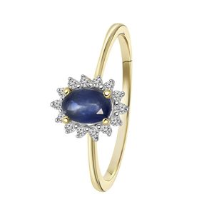585 Gelbgold-Ring Saphir mit Diamant -  57