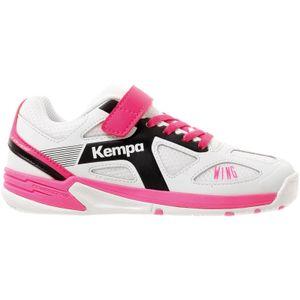 Kempa Wing Junior Handballschuhe mit Klettverschluss Kinder weiß-schwarz-pink