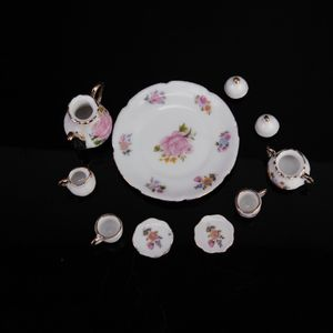 8-teilig Puppenhaus Miniatur Porzellan Teeservice Tee Set mit Blumen Muster