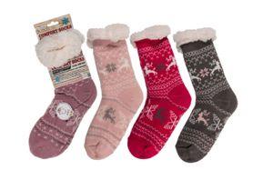 Kuschelsocken Hüttensocken Wintersocken Haussocken mit ABS Sohle für Damen Einheitsgröße 1 Paar , Farbe:Pink