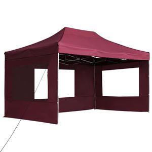 Hommie® Profi-Partyzelt Faltbar mit Wänden Partyzelt für Garten, Camping, Outdoor - Familienzelt Aluminium 4,5×3m Weinrot ❤8644