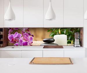 Aufkleber Küchenrückwand Wellness Steine Orchidee Kerzen Folie selbstklebend Dekofolie Fliesen Möbelfolie Spritzschutz 22A156, Höhe x Länge:60cm x 400cm